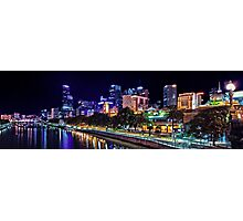 Banks of the Yarra Night Pano Melbourne Australia Photographic Print