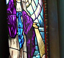 Mother Mary in A Deep Purple Robe - Stained Glass by Jane Neill-Hancock