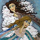 Angels Watching Us by Lisa Frances Judd~QuirkyHappyArt