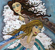 Angels Watching Us by Lisa Frances Judd ~ QuirkyHappyArt