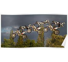 Composite of freestyle motocross 'superman' jump Poster