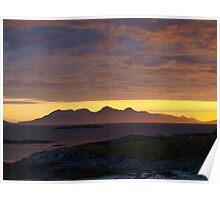 Sunset over Rum Poster
