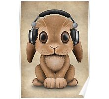 Cute Baby Bunny Dj Wearing Headphones Poster