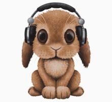 Cute Baby Bunny Dj Wearing Headphones One Piece - Short Sleeve