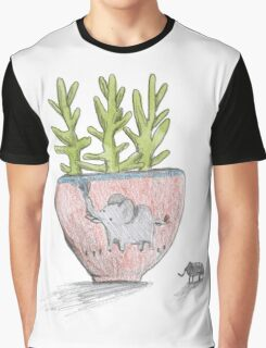 Succulent in Elephant Planter Graphic T-Shirt