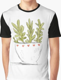 Succulent in Heart Planter Graphic T-Shirt