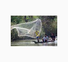 Laos net fishing in a dugout conoe Unisex T-Shirt