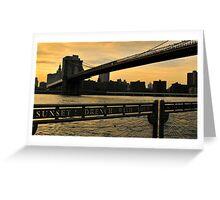 New York City evening skyline with Brooklyn Bridge over Hudson River  Greeting Card