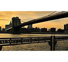 New York City evening skyline with Brooklyn Bridge over Hudson River  Photographic Print