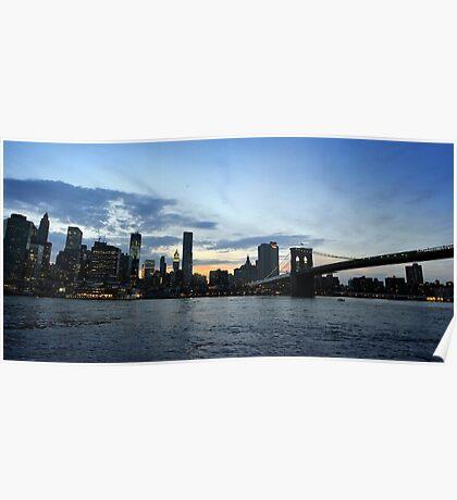 New York City evening skyline with Brooklyn Bridge over Hudson River  Poster