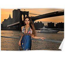 Beautiful girl posing at sunset time under Brooklyn Bridge, NYC Poster