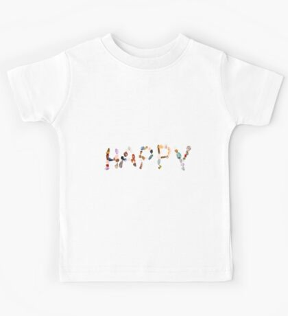 New age crystals and gemstones spelling out Happy Kids Tee