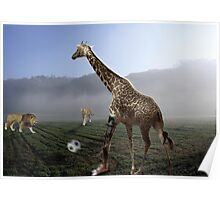 african animal soccer Poster