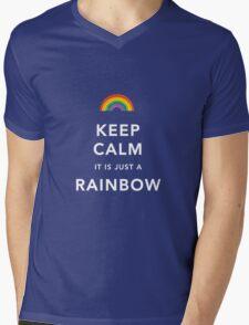 Keep Calm Is Just a Rainbow Mens V-Neck T-Shirt