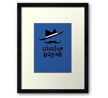 Lovable Rogue - funny vector graphic with mustache and fancy hat Framed Print
