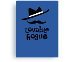 Lovable Rogue - funny vector graphic with mustache and fancy hat Canvas Print