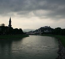 Salzburg, A River View. by Maybrick