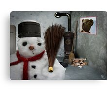 snowman at home Canvas Print