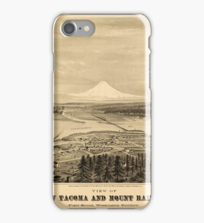 Panoramic Maps View of new Tacoma and Mount Rainier Puget Sound Washington Territory iPhone Case/Skin