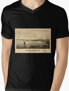 Panoramic Maps View of new Tacoma and Mount Rainier Puget Sound Washington Territory Mens V-Neck T-Shirt
