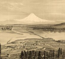 Panoramic Maps View of new Tacoma and Mount Rainier Puget Sound Washington Territory Sticker