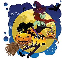 Witch and Full Moon 2 Photographic Print