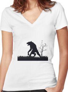 goosebumps werewolf Women's Fitted V-Neck T-Shirt