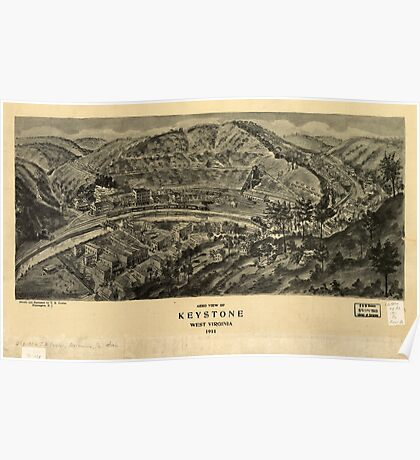 Panoramic Maps Aero view of Keystone West Virginia 1911 Poster