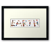 New age crystals and gemstones spelling out Earth  Framed Print