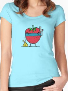 Stick Em Up...This Is A Strawberry Women's Fitted Scoop T-Shirt
