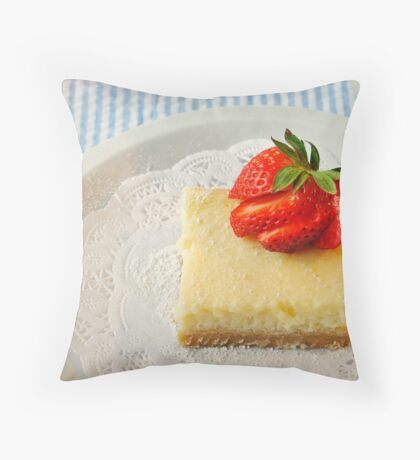 Lemon Bars with a Strawberry on Top Throw Pillow