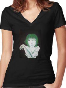 Green girl Women's Fitted V-Neck T-Shirt