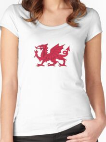Red Welsh Dragon - Flag of Wales - Sport T-Shirt Sticker Bedspread Duvet Women's Fitted Scoop T-Shirt