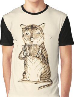 Accordion Tiger Graphic T-Shirt