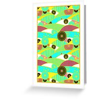 Chiyogami Turquoise & Dusty Rose [iPhone / iPod Case and Print] Greeting Card