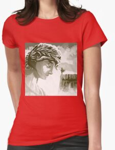 the spartan challenging the greek goddess Athena Womens Fitted T-Shirt