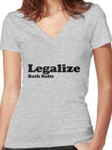 Legalize Bath Salts (Black Text) Women's Fitted V-Neck T-Shirt