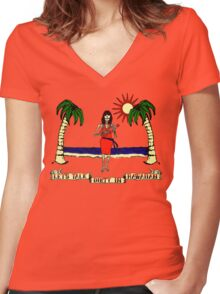Let's Talk Dirty In Hawaiian Women's Fitted V-Neck T-Shirt
