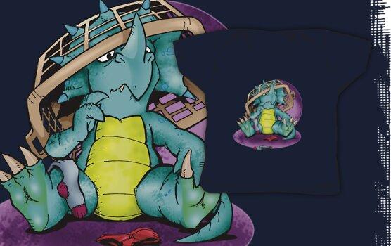 Lil' Dino vs Laundry basket by Ryan Wilton