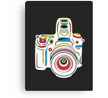 Rainbow Camera Black Background Canvas Print