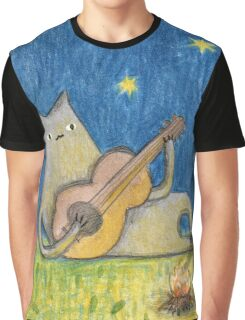 Campfire Cat Graphic T-Shirt