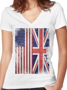 Distressed Flags: American/British Women's Fitted V-Neck T-Shirt