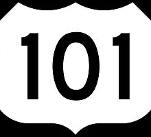 US Route 101 - California - Highway Road Trip T-Shirt Car Bumper Sticker by deanworld