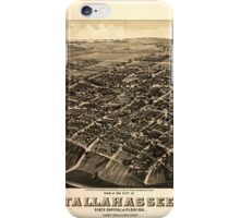 Panoramic Maps View of the city of Tallahassee State capital of Florida county seat of Leon county 1885 iPhone Case/Skin