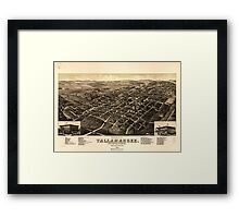 Panoramic Maps View of the city of Tallahassee State capital of Florida county seat of Leon county 1885 Framed Print