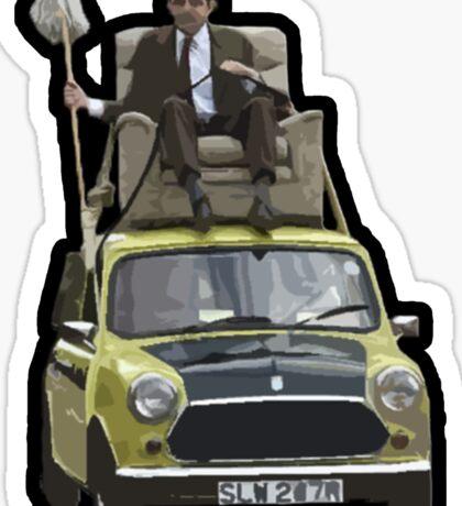 Mr Bean on his Mini Sticker