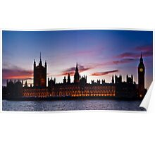 British Houses of Parliament at twilight Poster