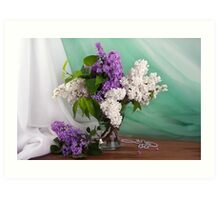 Still life of purple and white lilac in glass vase Art Print