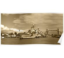 HMS Belfast and London skyline Poster