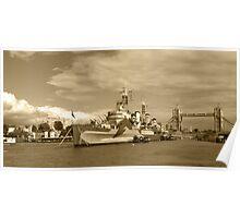HMS Belfast and London skyline Poster